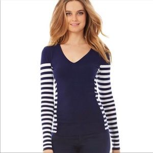 Lilly Pulitzer small navy stripe Adelaide sweater